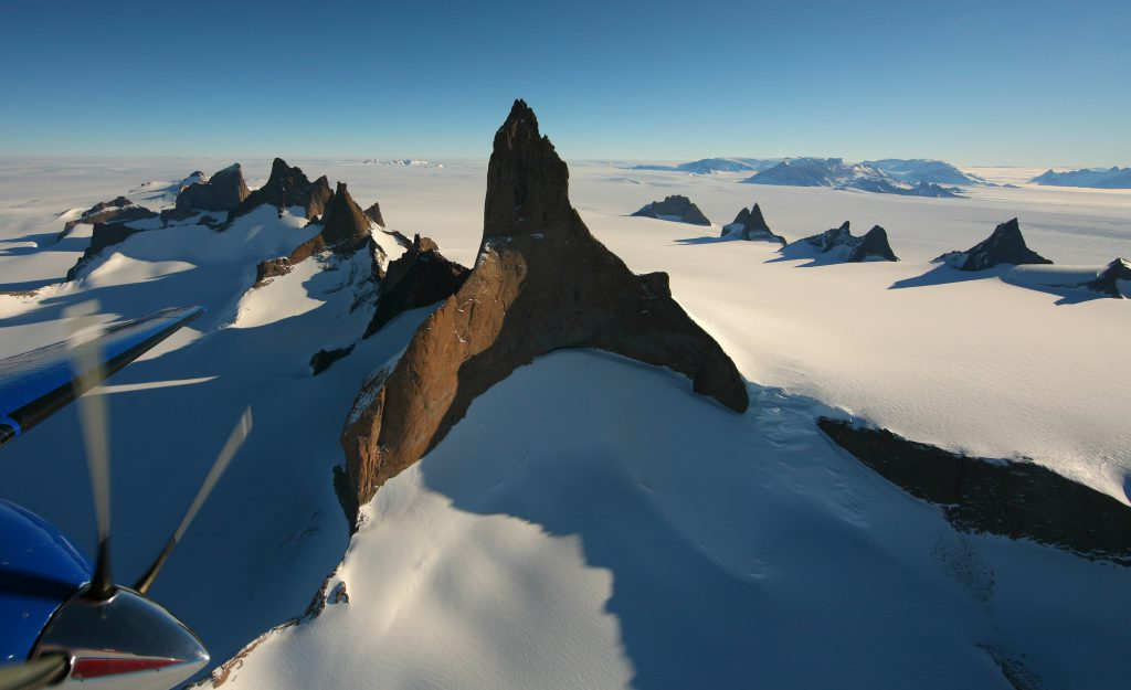 Crossing mountains as we fly to the South Pole
